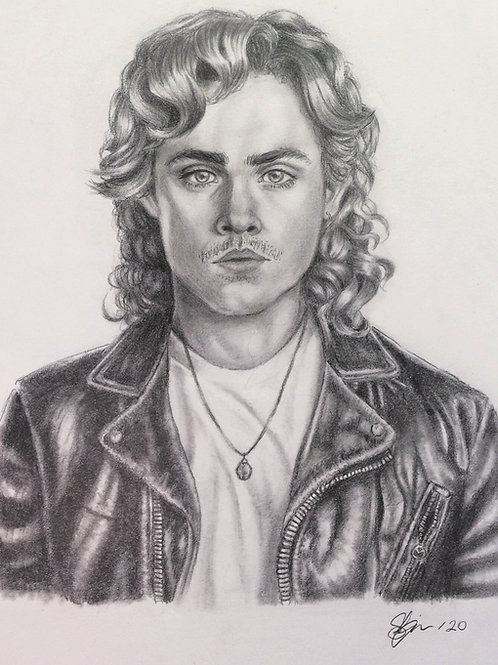 """Billy Hargrove"" - Stranger Things Graphite Portrait Print"