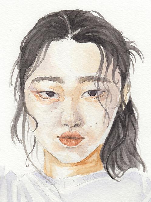 """""""Simple Elegance"""" - Watercolor Portrait Print"""