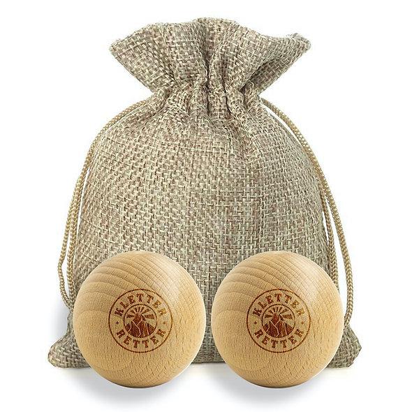 KletterRetter Holzmassagekugeln aus Buche mit Jutesäckchen