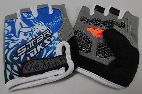 Blue padded riding fingerless gloves