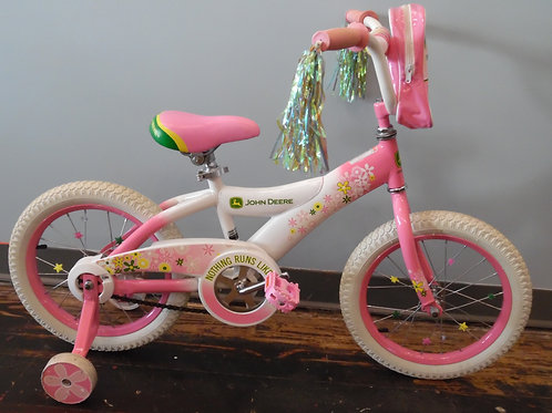 "John Deere 16"" bike with training wheels"