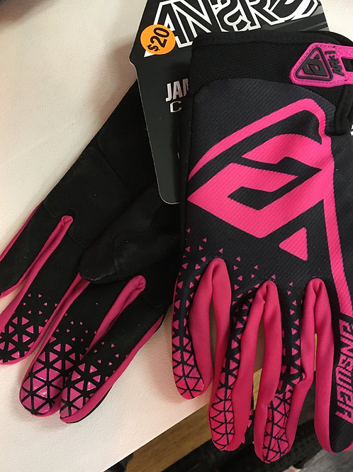 Pink full cycling gloves