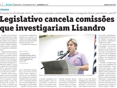 Legislativo cancela comissões que investigariam Lisandro