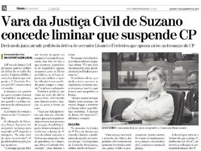 Vara da Justiça Civil de Suzano concede liminar que suspende CP