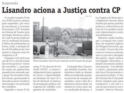 Lisandro aciona a Justiça contra CP