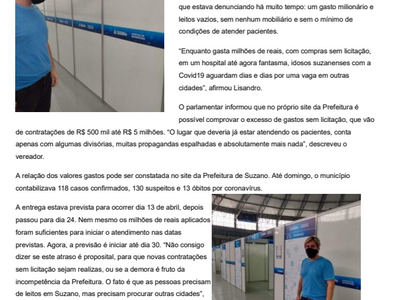 Hospital de quarentena de Suzano: Gastos milionários, atrasos e leitos vazios