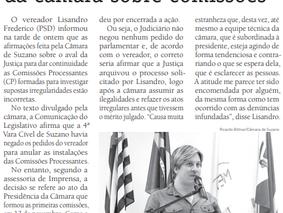 Lisandro rebate afirmações da câmara sobre comissões