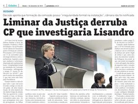 Liminar da Justiça derruba CP que investigaria Lisandro
