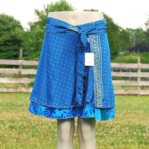 Wrap Skirt - Mini Short BLUE