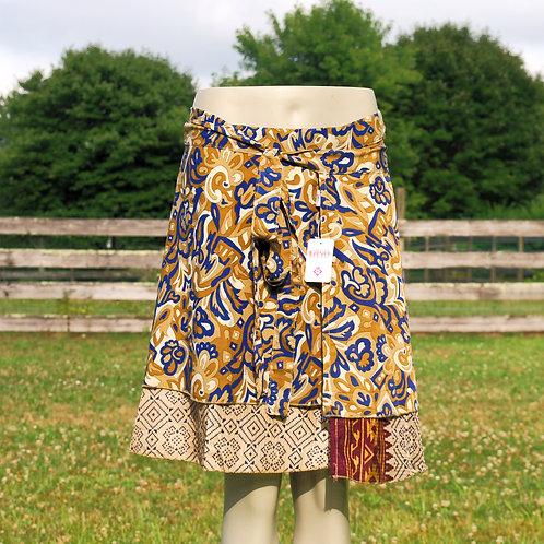 Wrap Skirt - Mini Short Blue -Tan