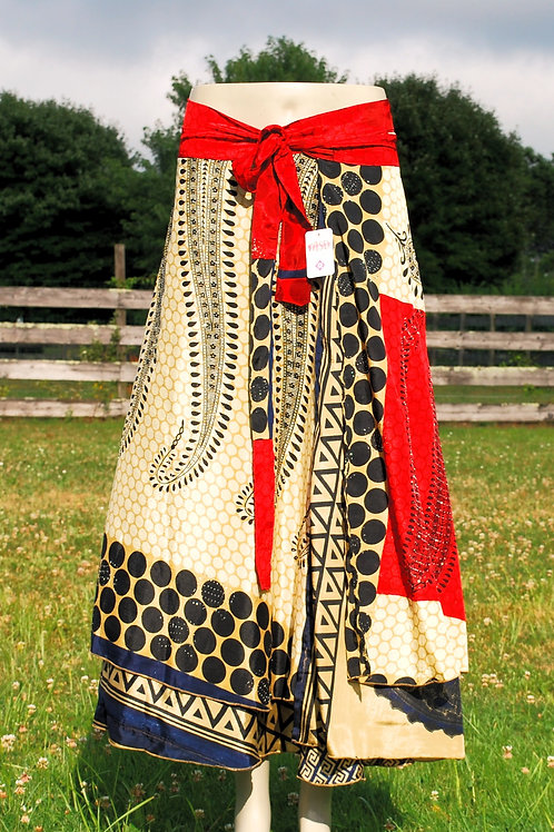 Wrap Skirt - Ankle Long RED SPARKE