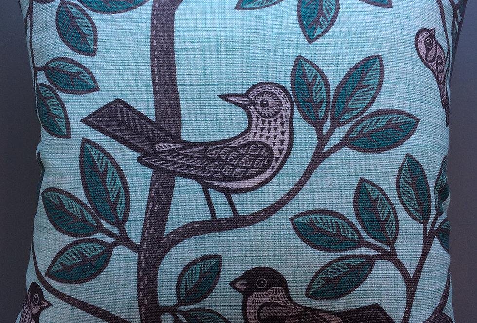 Chorus Birds Cushion Blue