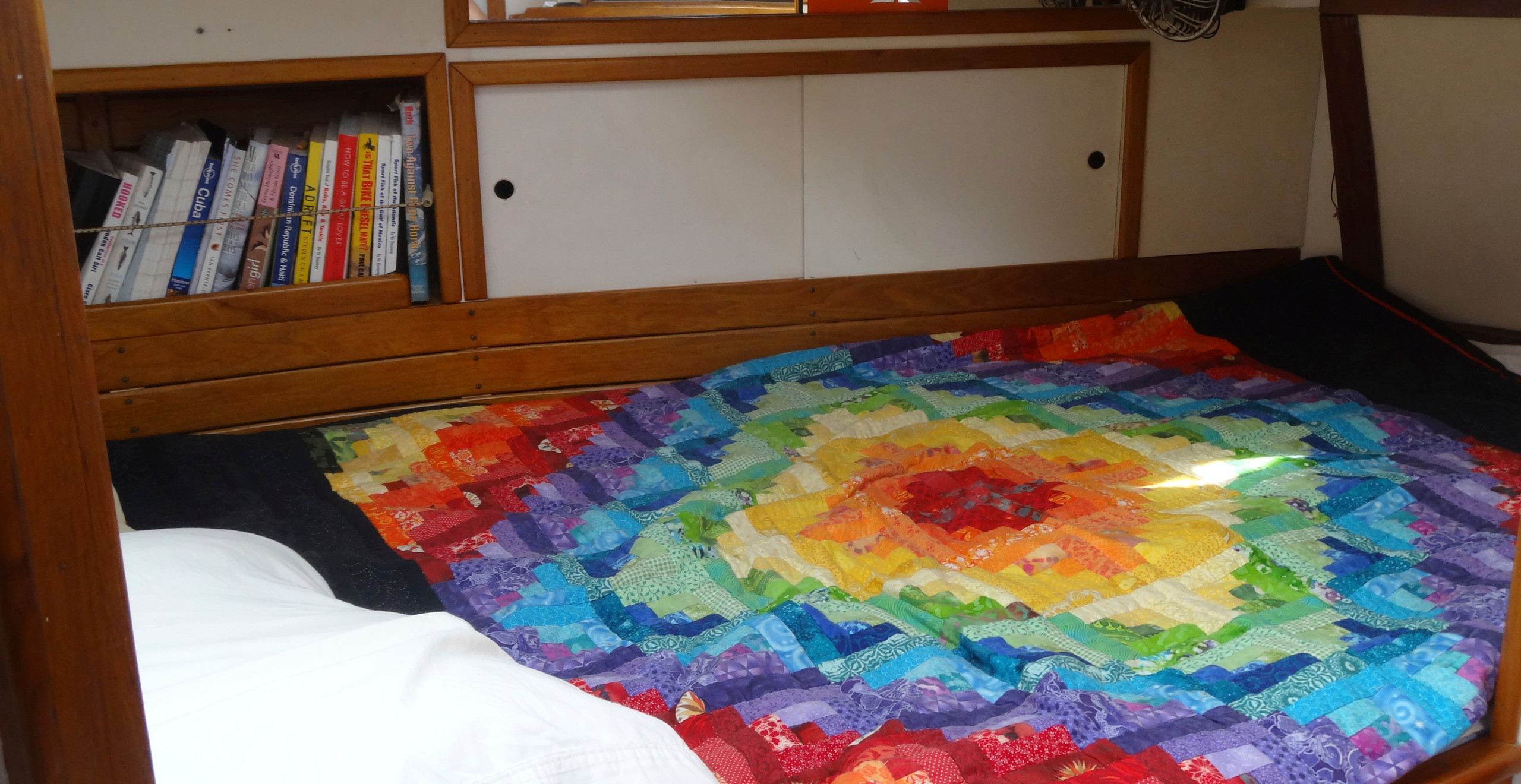 """I was so happy not to live and sleep out of a car. I loved our cozy little """"bedroom"""" on the boat it felt glutinous!"""