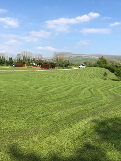 camping field and Ingleborough
