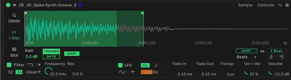 Ableton Simpler in 1-shot mode