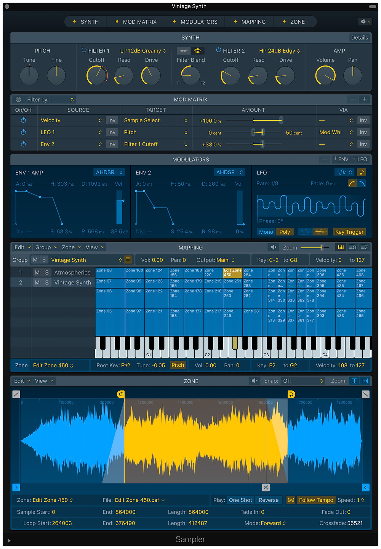 Logic 10.5 new Sampler plugin