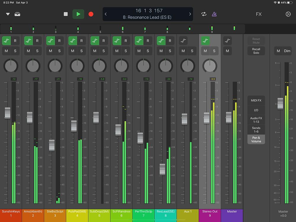 Logic Remote Mixer View