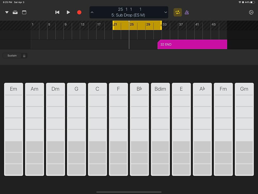 Logic Remote Chords View