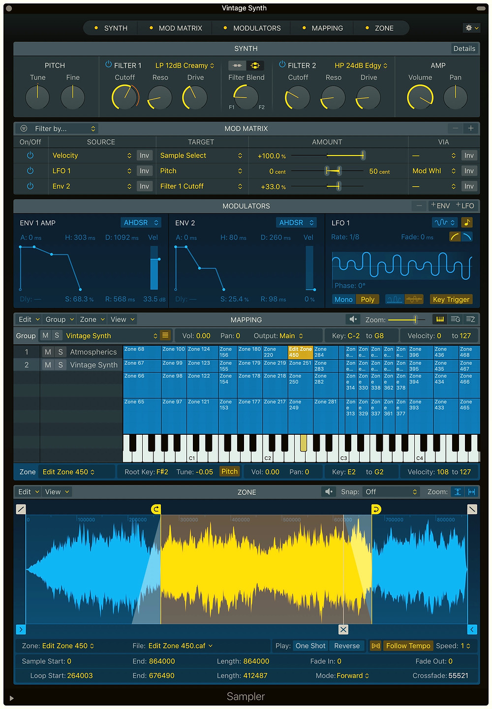Sampler in Logic Pro X 10.5 audio sampling synth