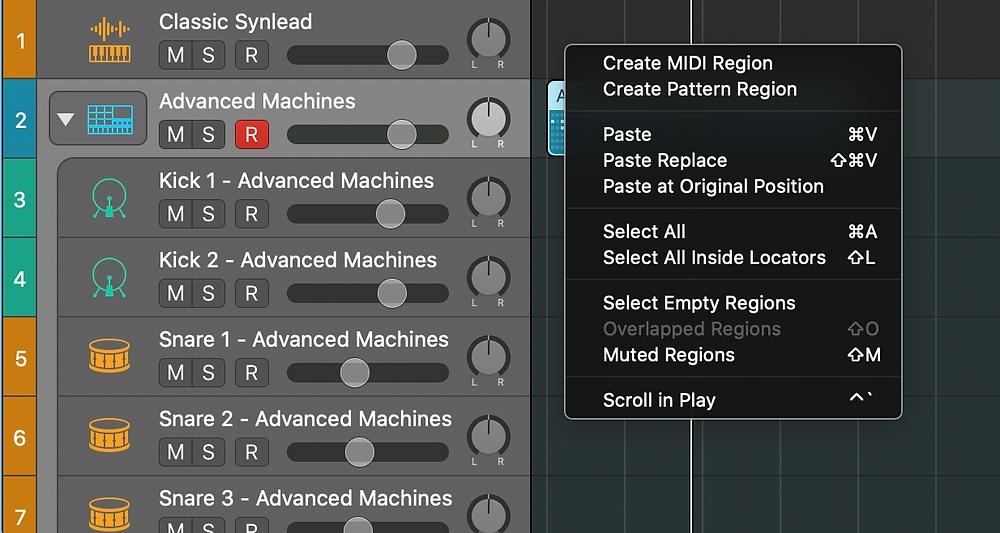 Logic 10.5 adding a pattern region