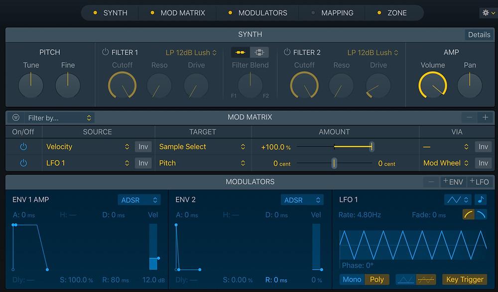 Logic 10.5 Sampler mod matrix, synth, modulators