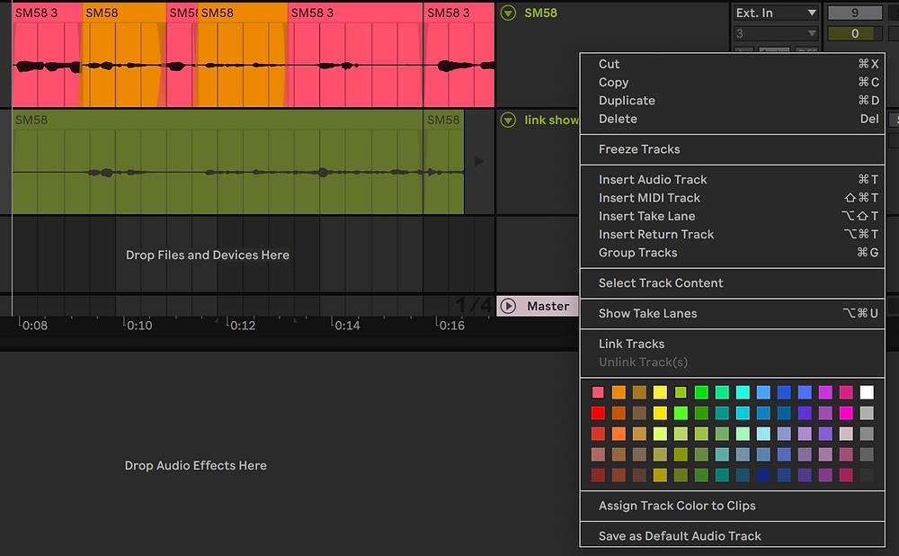 Ableton Live 11 Menu with Linking Tracks