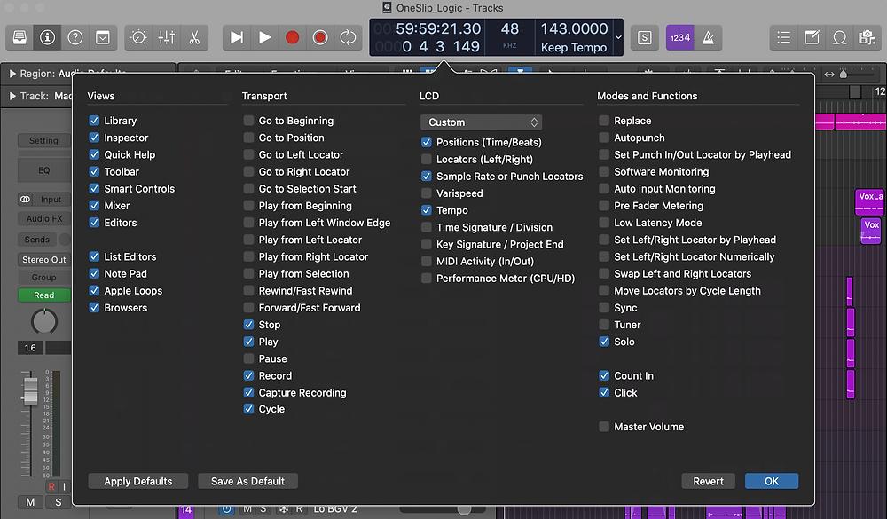 Customize Control Bar and Display Logic Pro X