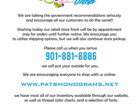 Pat's Monograms Corona Update