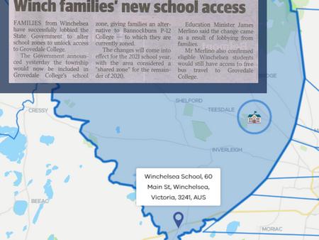 Winchelsea - school zones and student transport