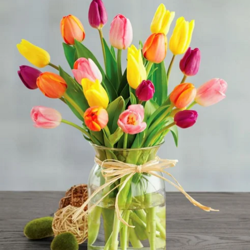 Colored Tulips with Vase