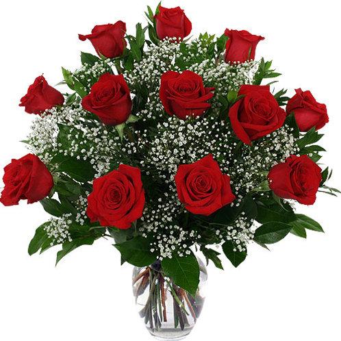 12 Long Stemmed Red Rose vase