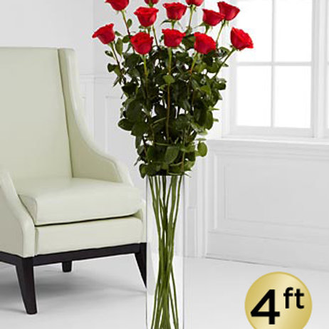 4 Foot Breathtaking Beauty Roses with Vase