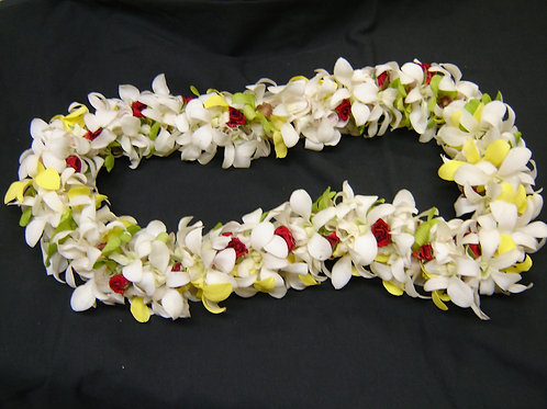 Double Orchid and Plumaria Lei