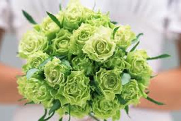 Hand Tied  Green Rose Bouquet