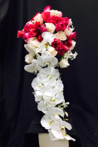 White Phalaenopsis Orchid Cascading Wedding Bouq