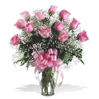 DOZEN LONG STEM PINK SWEET ROSES