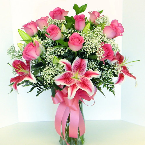 Roses and Lily Beautiful Bouquet