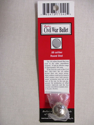 .69 Caliber Civil War Bullet