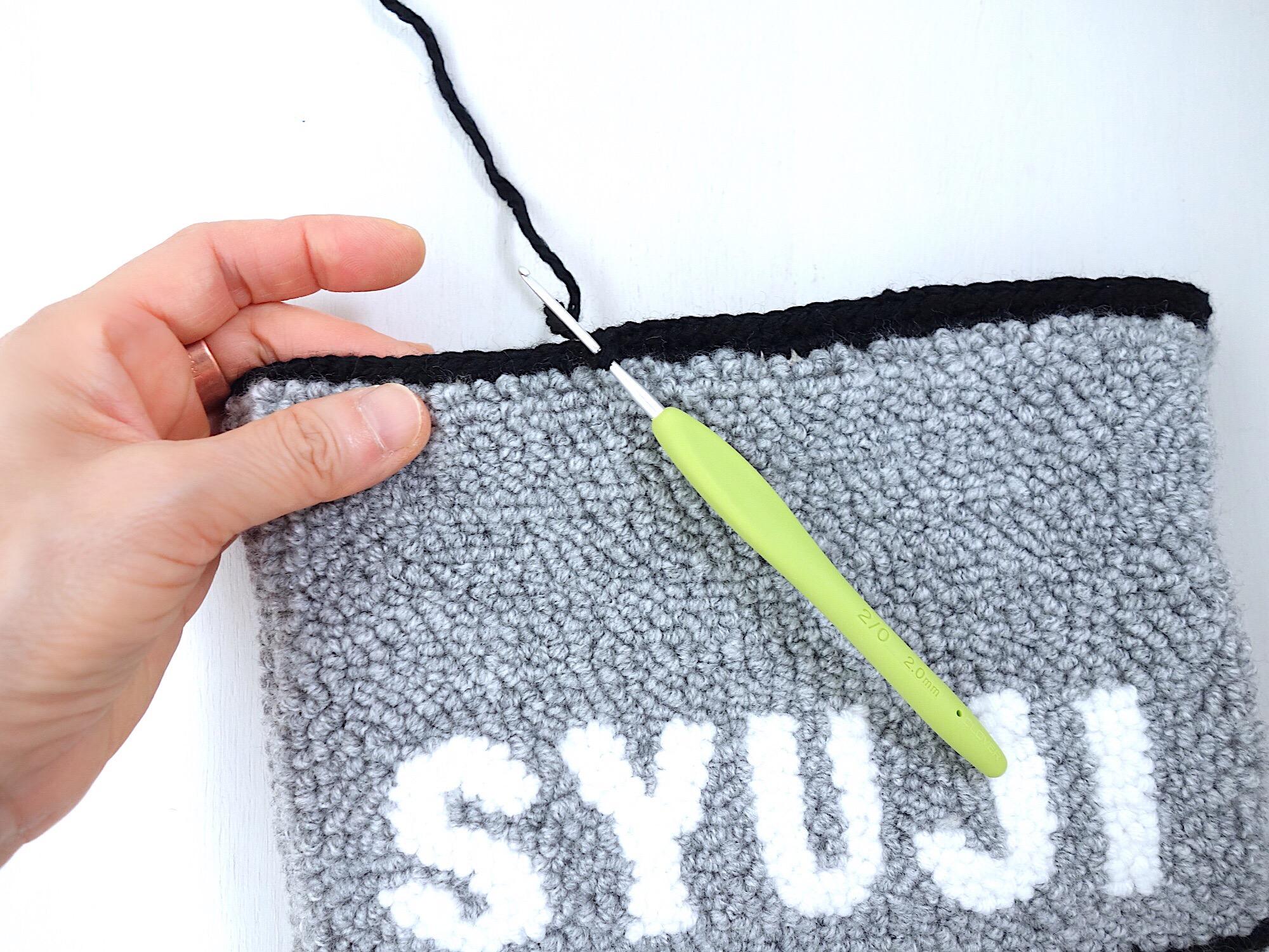 縁取りを細編み