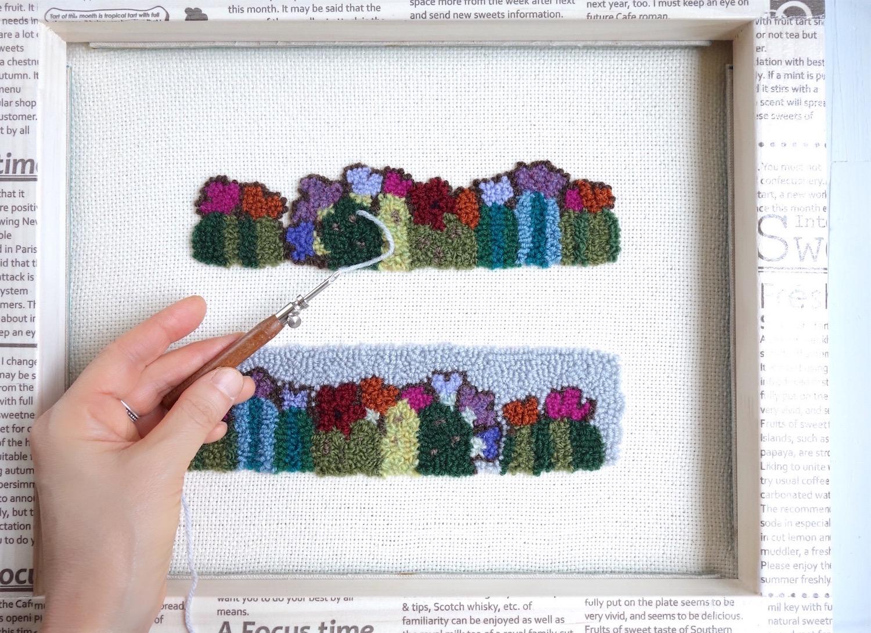 花咲きサボテン柄