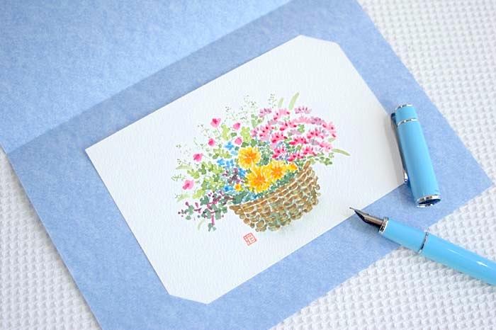 花かごの水彩画