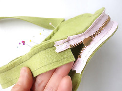 by sewing