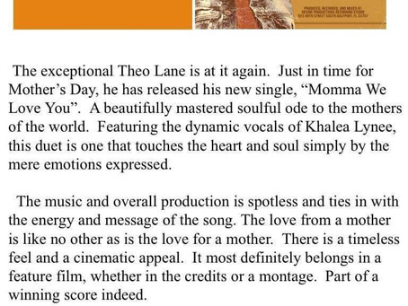 """Theo Lane-""""Momma We Love You"""" Single Review"""
