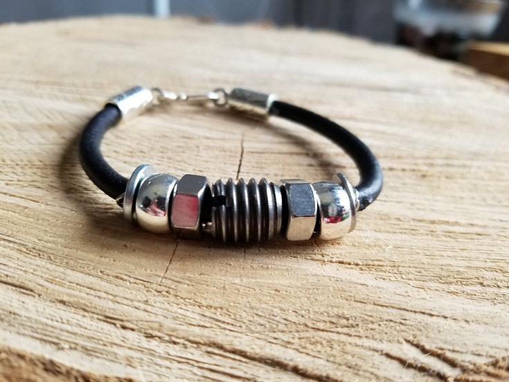 Round black leather hardware bracelet
