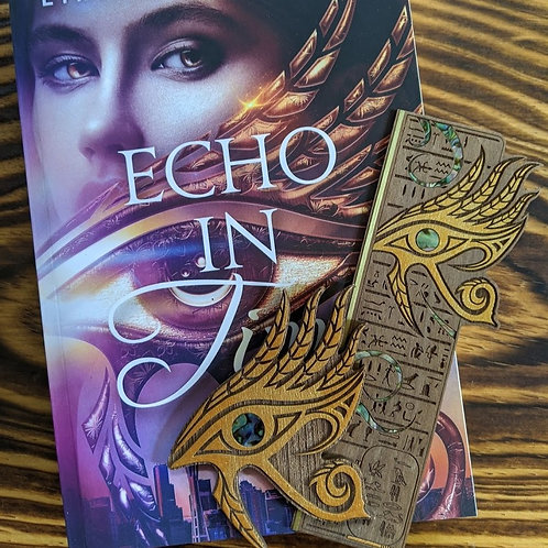 Signed ECHO IN TIME paperback, Echo Trilogy woodmark, & Echo Trilogy magnet