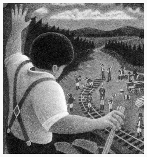 Black and white; John Henry waving to railroad workers.