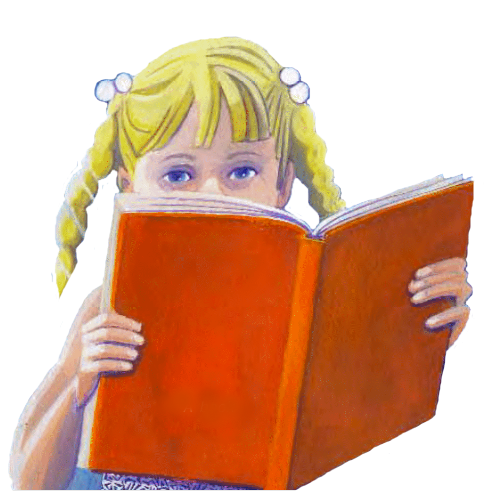 Girl reading a red book.