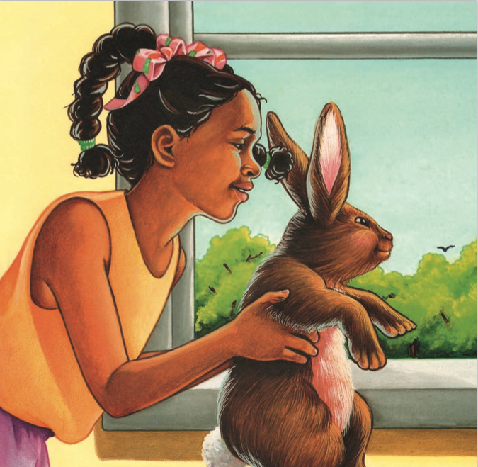 Little Girl holding Rabbit, looking out window.