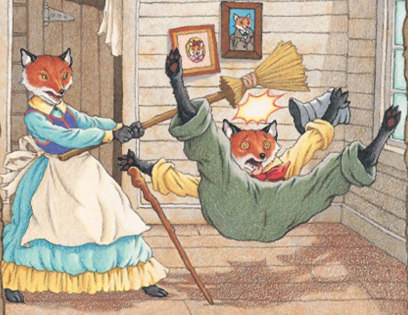 Mrs. Fox hitting Mr. Fox with a broom.