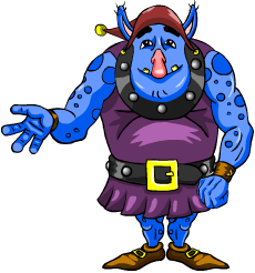Blue Story Cove ogre with right hand out.